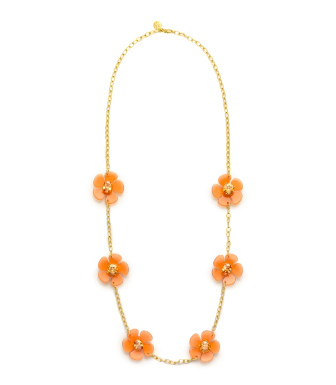 Cornelian/light Smoke Topaz Tory Burch Flora Rosary Necklace