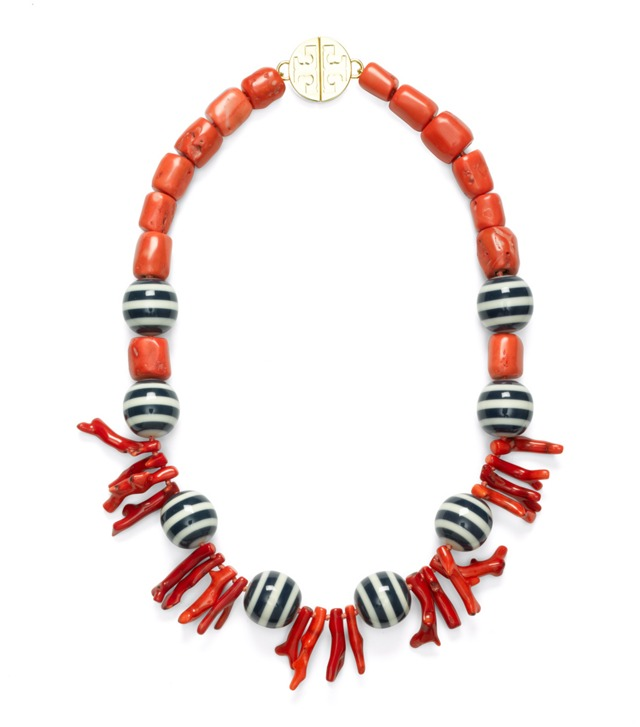 CORAL AND STRIPED BEAD NECKLACE