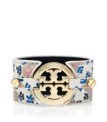 Sintra Combo B (white) Tory Burch Printed Logo Wide Double Snap Cuff