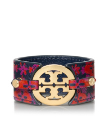 Sintra Combo E (red) Tory Burch Printed Logo Wide Double Snap Cuff