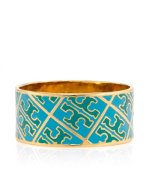 Thai Tuquoise/laguna Blue Tory Burch Enamel T Pattern Bangle