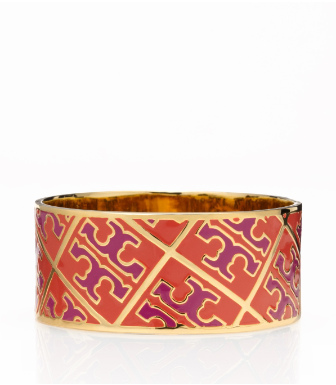 Equestrian Orange/orchid Pink Tory Burch Enamel T Pattern Bangle