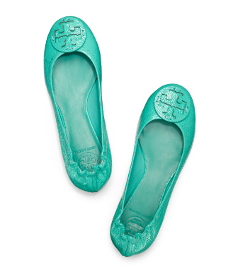 Island Turq Tory Burch Tumbled Leather Reva Ballet Flat
