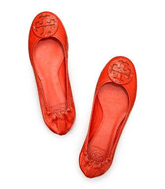 Flame Red Tory Burch Tumbled Leather Reva Ballet Flat