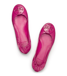 Party Fuschia Tory Burch Tumbled Leather Reva Ballet Flat