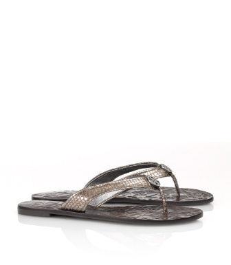 Tory Burch Metallic Snake Printed Thora Sandal