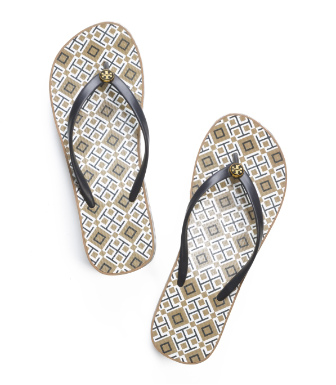Normandy Blue- T Print Tory Burch Thandie Wedge Flip Flop
