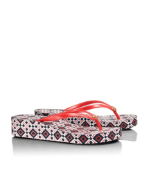 Tory Red- T Print Tory Burch Thandie Wedge Flip Flop