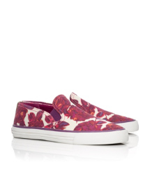 MILES SNEAKER- PRINTED CANVAS/VEG LEATHER | ROSA D/ROYAL TAN/EGGPLANT | 974