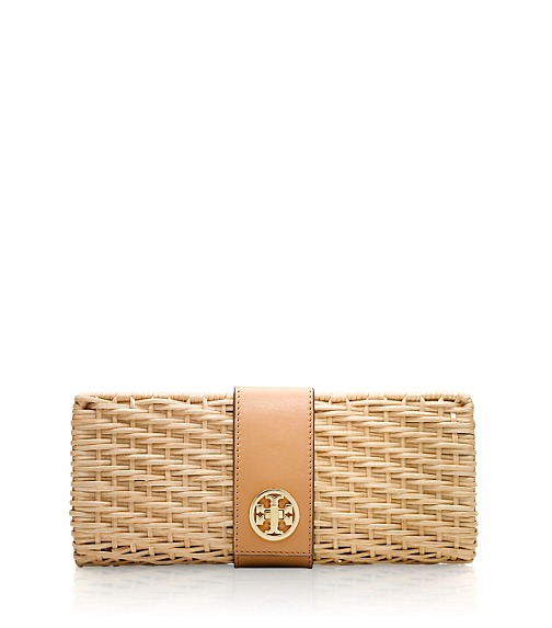 LACQUERED RATTAN TURNLOCK CLUTCH