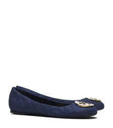 Tory Burch Quinn Denim Quilted Flat