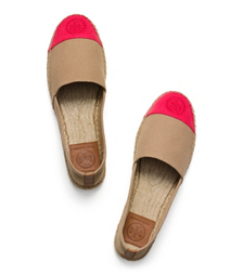Khaki/red Pepper/royal Tan Tory Burch Color-block Flat Espadrille