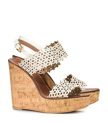 FLORAL PERFORATED WEDGE SANDAL