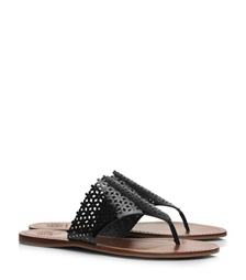 Tory Burch Floral Patent Perforated Flat Thong Sandal