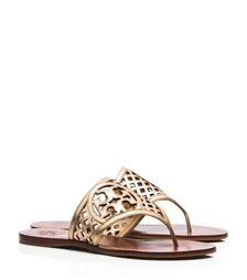 Tory Burch Thatched Perforated Metallic Thong Sandal