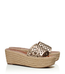 Tory Burch Thatched Perforated Metallic Wedge Slide