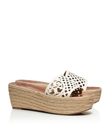Tory Burch Thatched Perforated Wedge Slide
