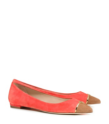 Poppy Coral/natural Bark Tory Burch Bar Logo Flat