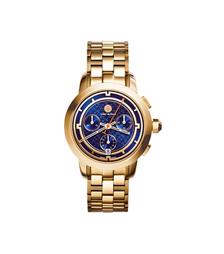 Tory Burch 金色/海军蓝计时腕表, 37 毫米