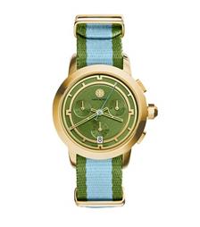 Tory Burch 条纹计时腕表 金色/绿色, 37 毫米