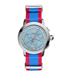 Tory Burch 条纹计时腕表 不锈钢/蓝色, 37 毫米