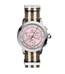 Tory Burch 条纹计时腕表 不锈钢/粉色, 37 毫米