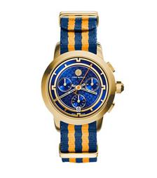 Tory Burch 条纹计时腕表 金色/海军蓝, 37 毫米