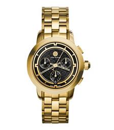 Tory Burch 金色/黑色计时腕表, 37 毫米