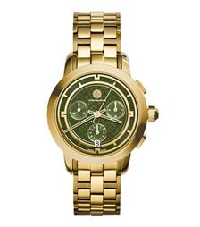 Tory Burch 金色/橄榄绿计时腕表, 37 毫米