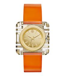 Tory Burch腕表 橙色漆皮/金色,36 x 36 毫米