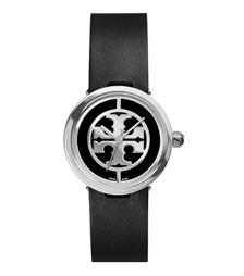 Tory Burch 黑色皮革/不锈钢, 28 毫米