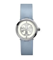 Tory Burch 蓝色皮革/不锈钢, 28 毫米