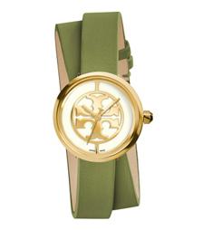 Tory Burch 双层环绕式 绿色皮革/金色, 28 毫米