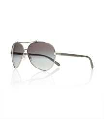 Pewter Gun Metal Tory Burch Oversized Aviator Sunglasses