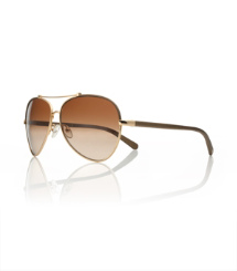 Bronze Gold Tory Burch Oversized Aviator Sunglasses