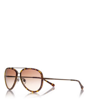 Tortoise Tory Burch Aviator Sunglasses