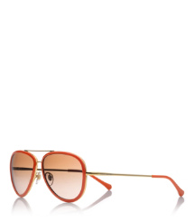 Orange Tory Burch Aviator Sunglasses