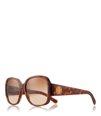 Havana Tory Burch Oversized Square Sunglasses