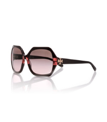 Burgundy Stripe Tory Burch Oversized Mod Sunglasses
