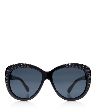 Black Tory Burch Crystal Cat-eye Sunglasses