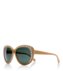 Light Brown Tory Burch Crystal Cat-eye Sunglasses
