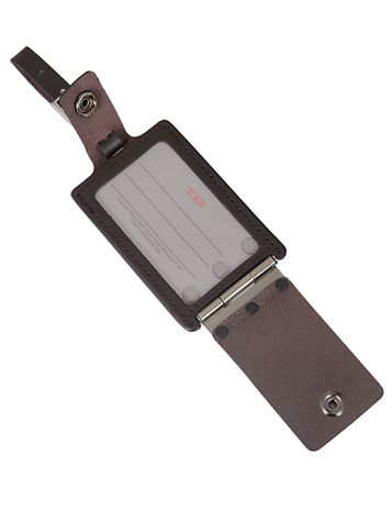 Hinged Luggage Tag in Brown Side View