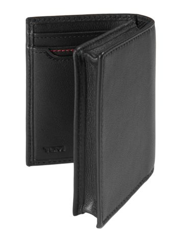 Gusseted Card Case ID in Black Side View