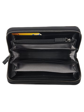 Carbon Fiber Large Zip-Around Travel Wallet Side View