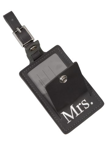Mrs. Luggage Tag in Charcoal Side View