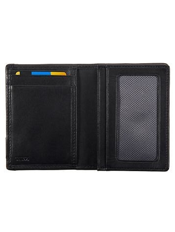 Gusseted Card Case with ID in Black Side View