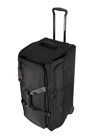 Large Wheeled Split Duffel in Black Side View