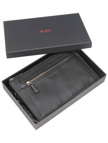 Double Zip Top Leather Clutch Side View