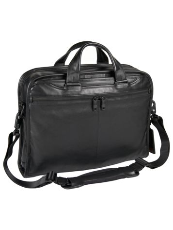 Organizer Portfolio Leather Brief in Black Side View