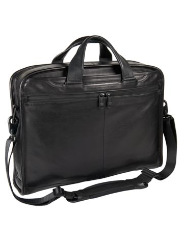 Compact Large Screen Laptop Leather Brief Side View